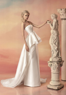 Style #1511b, long mikado skirt, available in white and ivory
