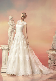 Style #1512L, lace a-line wedding gown with beaded neckline, available in white and ivory