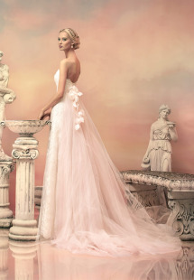 Style #1513L, blush lace a-line wedding gown with removable tulle train, available in white, ivory and pink