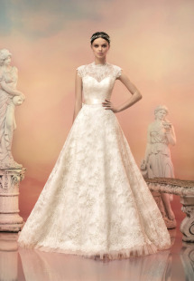 Style #1514L, lace a-line wedding dress with beaded neckline, available in white and ivory