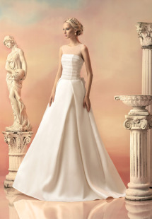 Style #1515, illusion neckline wedding dress with pleated a-line skirt, available in white and ivory