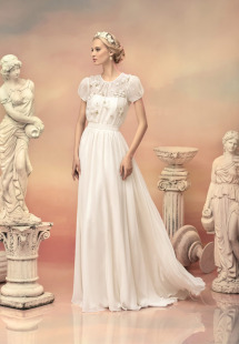 Style #1516, chiffon a-line wedding dress with floral blouse bodice, available in white and ivory