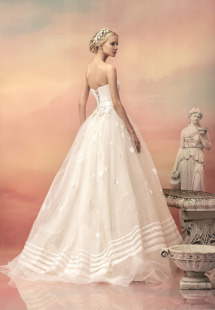 Style #1517, strapless ball gown wedding dress with floral applique details, available in white and ivory