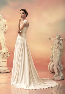 Style #1518L, a-line chiffon wedding dress with floral applique shoulder detail, available in white and ivory