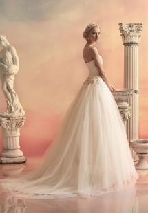 Style #1519, tulle ball gown wedding dress with beaded sweetheart bodice, available in ivory