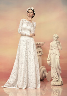Style #1520L, long sleeve lace a-line wedding dress with illusion back, available in white and ivory