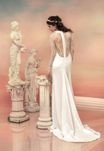 Style #1521L, sheath wedding dress with lace sleeves and back, available in white and ivory