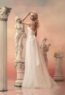 Style #1522, tulle ball gown wedding dress with floral appliques, available in white and ivory