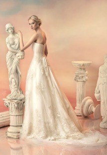 Style #1524L, lace a-line wedding gown with pleated bodice, available in white and ivory