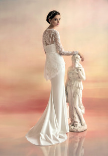 Style #1525L, chiffon sheath wedding dress with lace peplum blouse, available in white and ivory