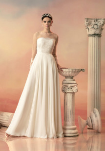 Style #1526, Illusion neckline a-line wedding dress with chiffon skirt, available in ivory