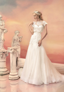 Style #1527, a-line wedding dress with lace cap sleeved bodice, available in white and ivory