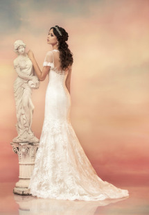 Style #1530L, plunging neckline fit and flare lace wedding dress with sleeves, available in white and ivory