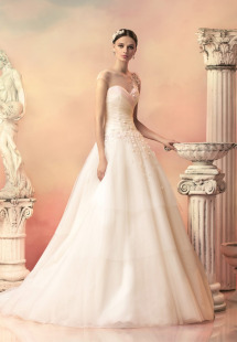 Style #1533L, tulle ball gown with tiered skirt and floral appliques, available in white, ivory and pink