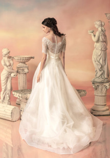 Style #1535, a-line wedding dress with lace bodice and sleeves, available in white and ivory
