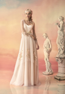 Style #1537, vintage inspired tulle long sleeve wedding dress with floral appliques, available in white, ivory and pink