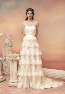 Style #1538L, a-line wedding dress with lace tiered skirt, available in white and ivory