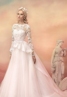 Style #1539L, blush ball gown with beaded lace long sleeve bodice, available in white, ivory and pink