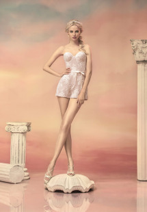 Style #1541, lace bustier romper, available in white, ivory and black