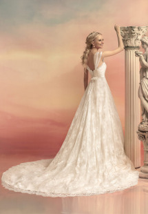 Style #1542L, a-line lace wedding gown with cap sleeves and belt, available in white and ivory