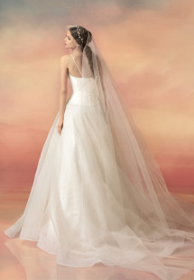 Style #1543L, a-line chiffon wedding dress with draped bodice, available in white and ivory