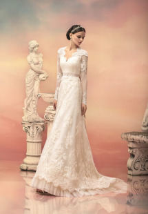 Style #1544L, v-neck lace a-line wedding gown with sash, available in ivory