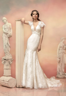 Style #1545L, plunging neckling lace fit and flare wedding dress with beaded waist, available in white and ivory