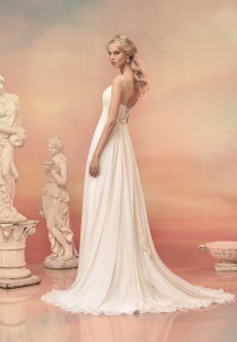 Style #1546L, chiffon a-line wedding dress with ruched bodice and beaded straps, available in white and ivory