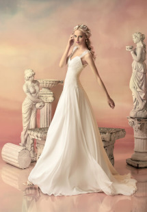 Style #1547L, chiffon a-line wedding dress with ruched bodice and beaded keyhole back, available in white and ivory
