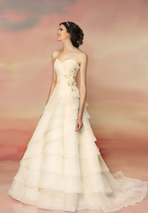 Style #1548L, ball gown wedding dress with tiered skirt and floral waist detail, available in white and ivory
