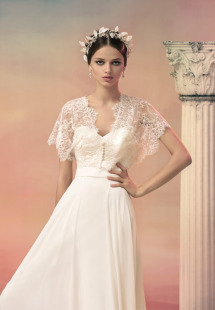 Style #1549L, a-line chiffon wedding dress with off the shoulder sleeves, available in white and ivory