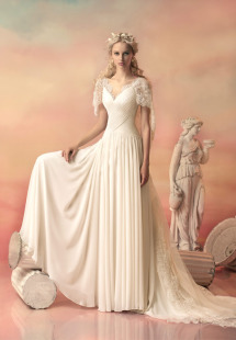 Style #1550L, chiffon a-line wedding dress with draped bodice and lace capelet detail, available in white and ivory