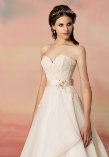 Style #1551L, sweetheart neckline lace and organza wedding dress, available in light ivory