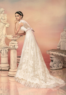 Style #1552L, v-neck lace a-line wedding dress with sash, available in white and light ivory