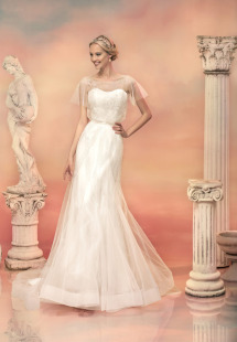 Style #1554L, beaded tulle fit and flare wedding dress, available in white and light ivory