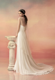 Style #1557L, sweetheart neckline wedding dress with beaded belt, available in white and ivory