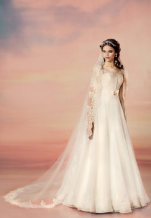 Style #1559, a-line wedding dress with lace bodice and sleeves, available in white and ivory