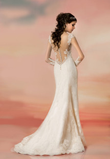 Style #1561b, fit and flare lace wedding dress with illusion back, available in white and light ivory