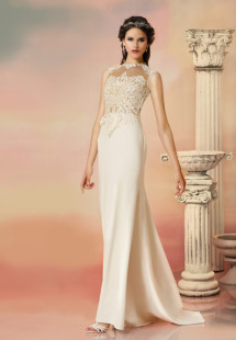 Style #1562, sheath wedding dress with lace bodice and illusion back, available in light ivory