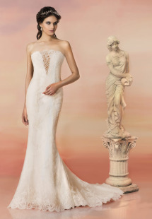 Style #1563L, lace mermaid wedding dress with plunging neckline and sheer back, available in white and ivory