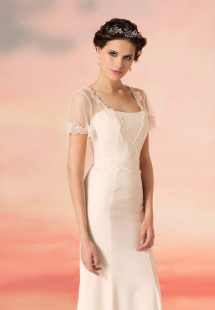 Style #1564L, sheath wedding dress with lace trimmed sleeves and plunging neckline, available in white and ivory
