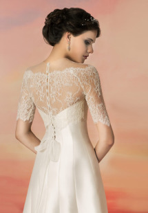 Style #1337a, lace illusion off the shoulder bolero, available in ivory