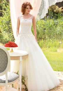 Style #1401, lace and mesh ball gown wedding dress, available in white and ivory