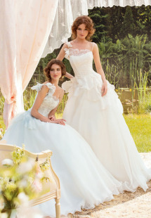 Style #1402, organza ball gown wedding dress with lace accents, available in white and ivory