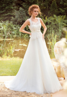 Style #1403, lace and tulle a-line wedding gown, available in white and ivory
