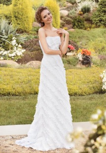 Style #1404, strapless lace sheath wedding dress, available in white