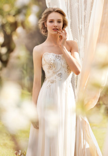 Style #1406, chiffon and lace sheath wedding dress with beaded embroidery, available in ivory
