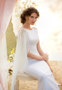Style #1407, taffeta sheath wedding dress with chiffon sleeves , available in white and ivory