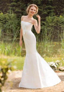 Style #1411, strapless jacquard mermaid wedding dress, available in white and ivory