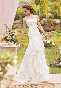 Style #1412, chiffon fit and flare ruffled wedding dress, available in ivory